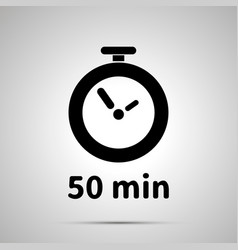 fifty minutes timer simple black icon with shadow vector image