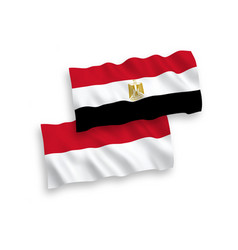 Flags indonesia and egypt on a white background vector