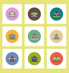 flat icons halloween set of clown pumpkin concept vector image