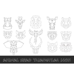 Front view of animal head triangular icon set vector image