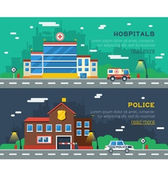 Government Buildings Two Horizontal Banners vector image