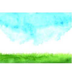 Green grass meadow with cloud sky watercolor vector