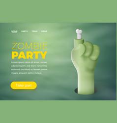 halloween cartoon 3d realistic zombie hand vector image