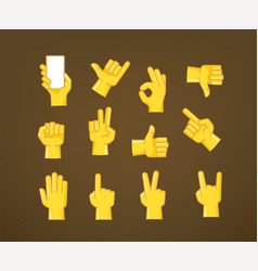 hand gesture comic style icons collection vector image