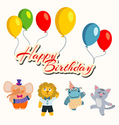 happy birthday banner with balloons and cartoon vector image
