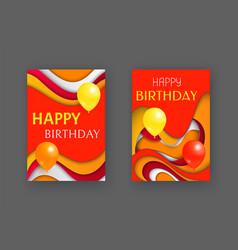happy birthday decoration cards greeting set vector image