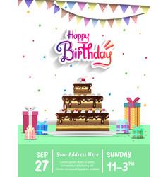Happy birthday design with big birthday cake vector