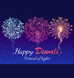happy diwali festival lights with fireworks vector image