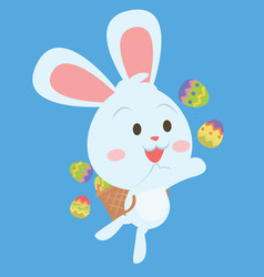 happy easter egg bunny character vector image