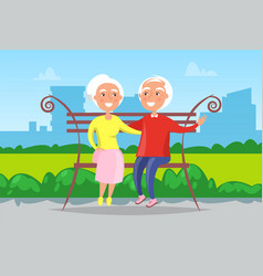 happy grandparents sitting on bench in park vector image