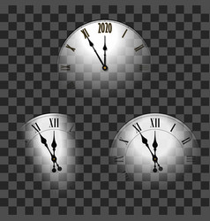 Happy new year 2020 white clock arrows isolated vector