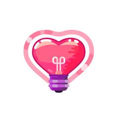 heart lightbulb flat design style vector image