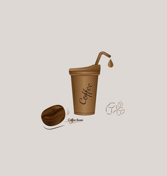 iced coffee with bean icon design vector image