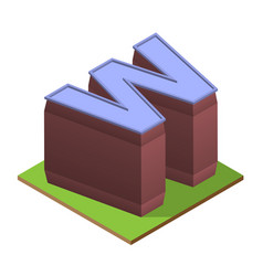 isometric building letter w form vector image