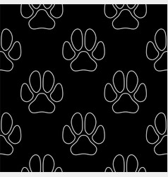 line art dog paw prints seamless pattern vector image
