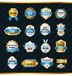 Luxury Labels Gold And Blue vector image