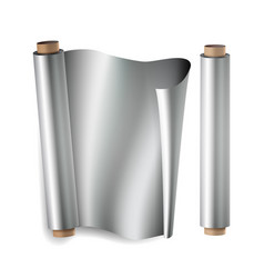 Metal foil paper roll close up top view vector