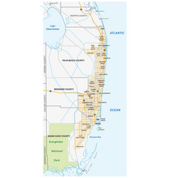 Miami metropolitan or greater miami area map vector