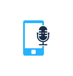 mobile podcast logo icon design vector image