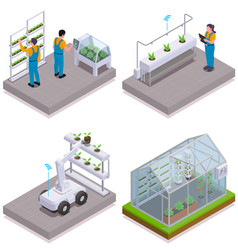 Modern greenhouse isometric icon set vector