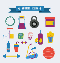 Multicolored icons with tape on topic sports vector
