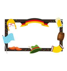 oktoberfest frame hat beer flag barrel decoration vector image