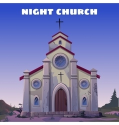 Old Church closeup in the Wild West at night vector