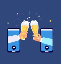 online beer party internet friendship friends vector image