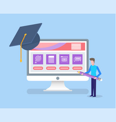 Online education completion of university degree vector
