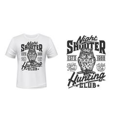 owl hunting club t-shirt print mockup wild hunt vector image