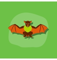 Paper sticker on stylish background cute bat vector