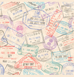 passport stamps seamless texture vector image