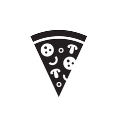 pizza - black icon on white background vector image