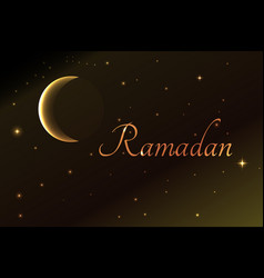 Ramadan crescent moon into the night sky vector