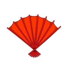 Red open hand fan icon cartoon style vector image