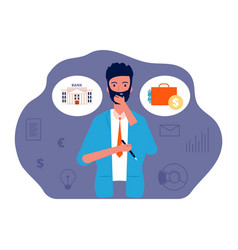 Save money man thinking about investing vector
