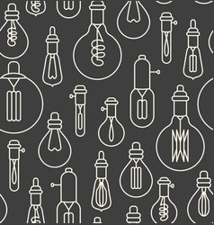 Seamless pattern made of linear lightbulbs vector