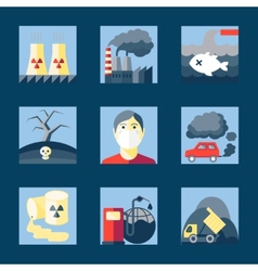 Set pollution icons vector