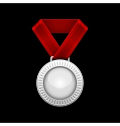 Silver Medal with Red Ribbon vector