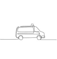 Single one line drawing hospital ambulance car vector