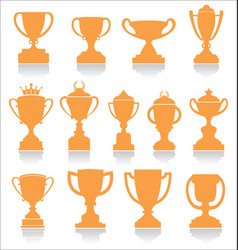 Sports trophies and awards retro collection vector