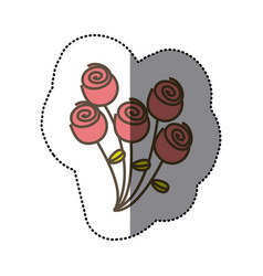 sticker colorful bouquet roses floral icon vector image