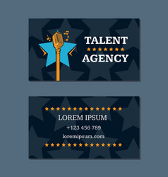 Talent agency business card template with vector