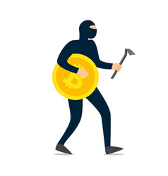 thief hacker dressed in dark mask running with vector image
