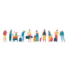 tourist queue men and women standing in line at vector image