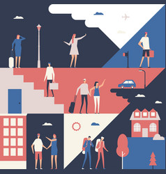Tourists - flat design style conceptual vector