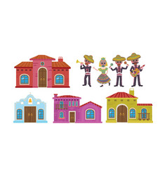 Traditional mexican buildings with wooden doors vector