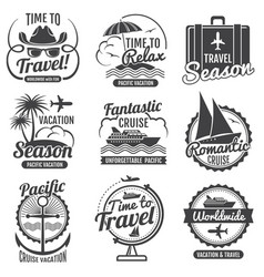Travel adventure vintage labels and emblems vector