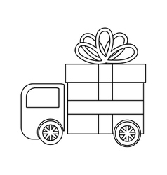 Truck delivering gift graphic vector