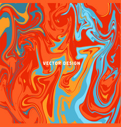 turquoise and orange marbled surface fire vector image